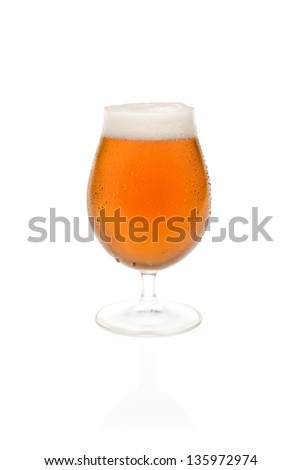 Tulip Glass With Belgium Beer - stock photo