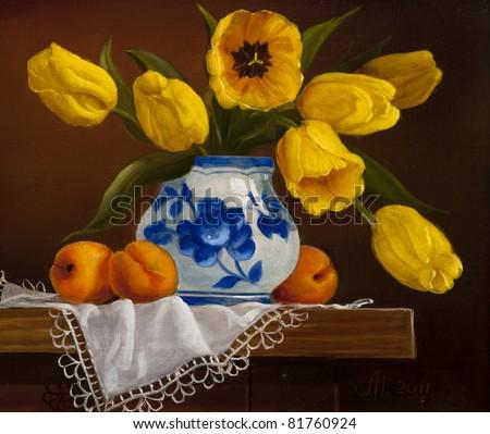 tulips bouquet, still life - stock photo