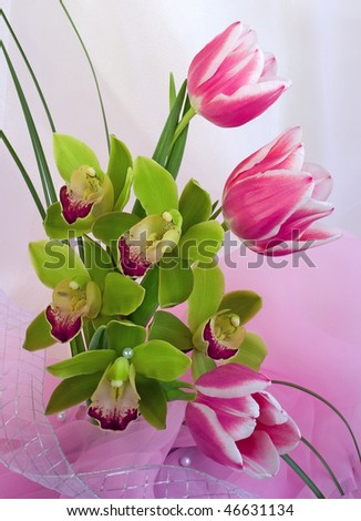 Tulips with orchids