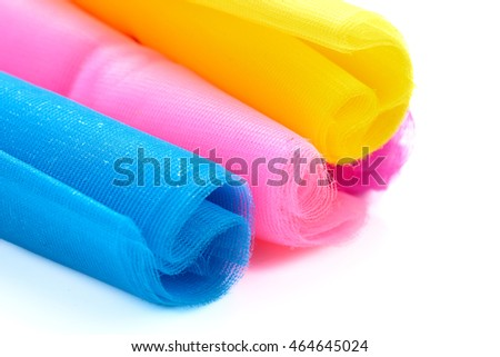 Tulle fabric. fabric roll with space on background