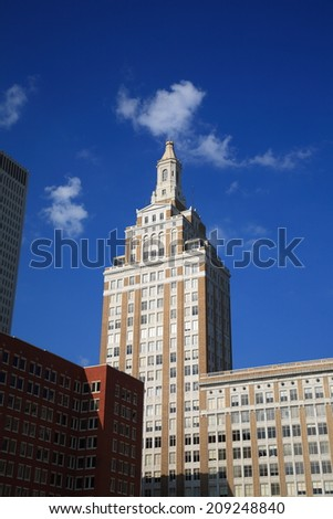 TULSA, OKLAHOMA - JUNE 23: Art Deco building on June 23, 2012 in Tulsa, Oklahoma. Tulsa is the second-largest city in the state of Oklahoma and 45th-largest city in the United States.  - stock photo