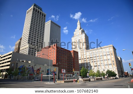 TULSA, OKLAHOMA - JUNE 23: Skyline and Art Deco buildings on June 23, 2012 in Tulsa, Oklahoma. Tulsa is the second-largest city in the state of Oklahoma and 45th-largest city in the United States. - stock photo