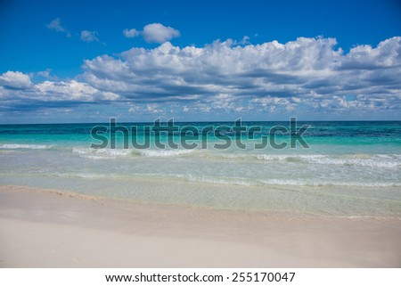 Tulum beach view, caribbean paradise, at Quintana Roo, Mexico.