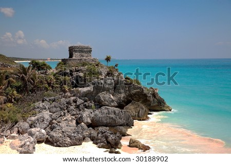 Tulum beach with Maya temple, Mexico