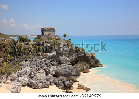 Tulum beach with ruin of Maya temple, Mexico - stock photo