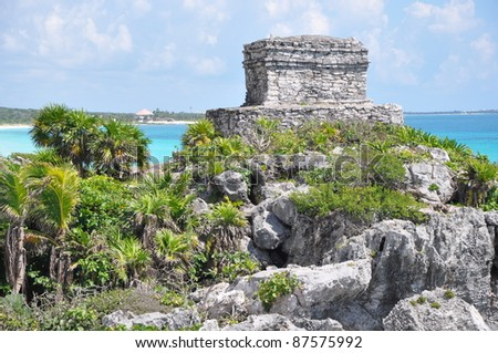 Tulum Mayan Ruins in Mexico - stock photo