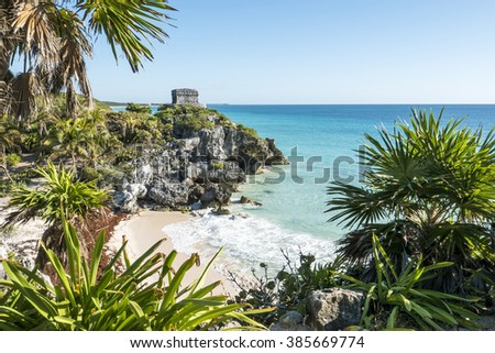 Tulum mayan ruins on the sea  in yucatan mexico - stock photo