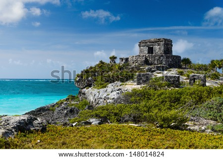 Tulum Ruins by the Caribbean Sea - stock photo