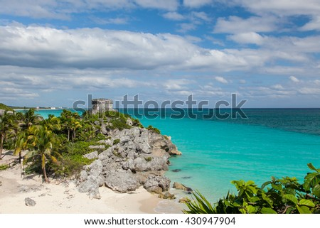 Tulum, Yucatec, a site of a Pre-Columbian Maya walled city serving as a major port for coba on the Caribbean Sea. - stock photo