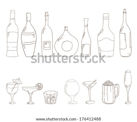 Tumblers set for alcohol drinks and coctails. Sketch of wine bottles.Wine, martini, cognac, cherry, beer, champagne, grappa glasses isolated on white background. Rasterized version. - stock photo