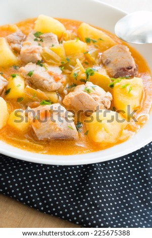 Tuna and potato stew called Marmitako in traditional Basque cuisine ...