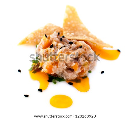 Tuna appetizer with chips - stock photo