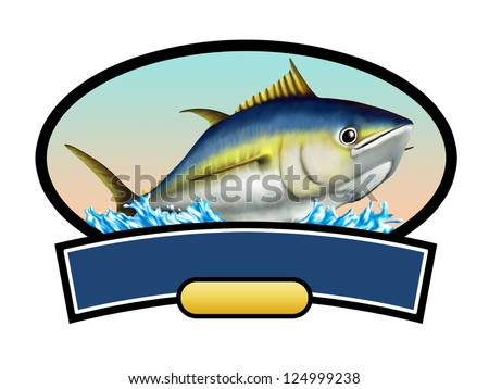 Tuna fish label, copy space available to insert your text. Digital illustration. - stock photo