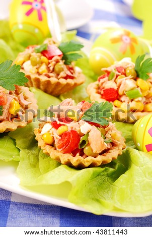 tuna salad in tartlets for  easter breakfast
