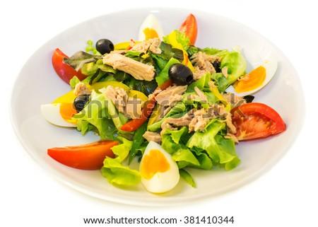 Tuna salad on the plate - stock photo