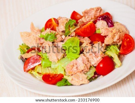 Tuna salad with different vegetables - stock photo