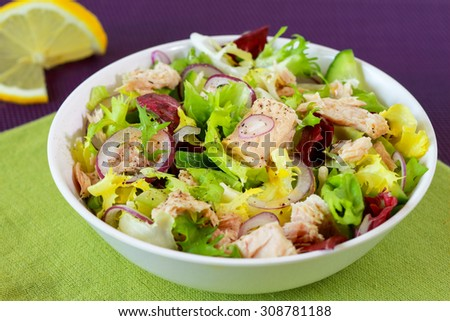 Tuna salad with fresh lettuce,cucumber and herbs in white bowl - stock photo
