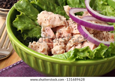 Tuna salad with lettuce, red onions, and ground pepper.  (glass pepper mill visible in background).  Macro with shallow dof. - stock photo