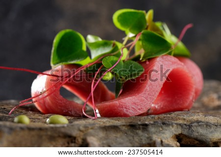 Tuna sashimi and Wasabi sauce. Haute cuisine - stock photo