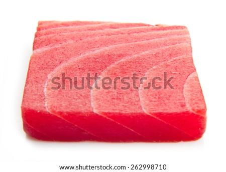 tuna sashimi isolated on white background - stock photo