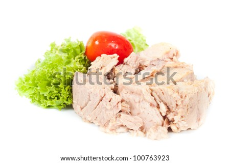 Tuna steak on  white background with vegetables