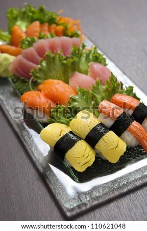 Tuna sushi and Salmon sushi - stock photo