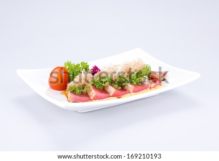 tuna sushi on white background
