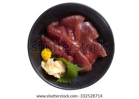 tuna sushi, sashimi isolated on white background