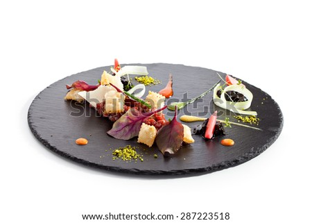 Tuna Tartare with Various Dip and Crispy - stock photo