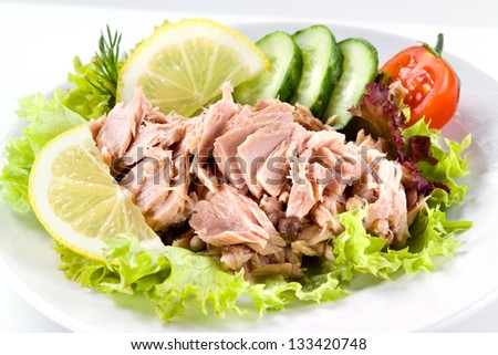 tuna with vegetable salad - stock photo
