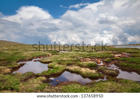 Tundra near Summit Lake at Mt. Evans Colorado. - stock photo