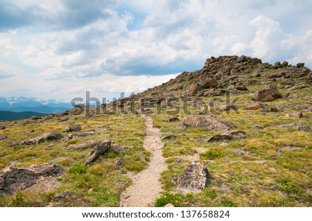 Tundra trail at Mt. Evans in Colorado. - stock photo
