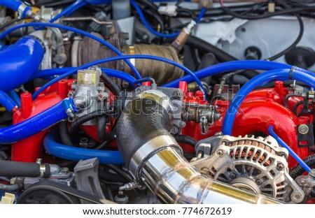 Tuned Parts Under Hood Sports Car Stock Photo (Royalty Free ...