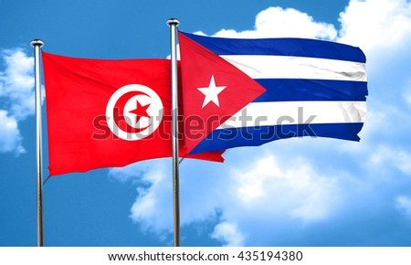 Tunesia flag with cuba flag, 3D rendering