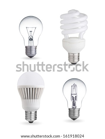 tungsten bulb,fluorescent,halogen and LED bulb - stock photo