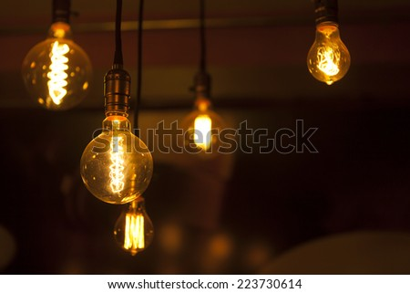 tungsten lamps , old fashion chandelier - stock photo