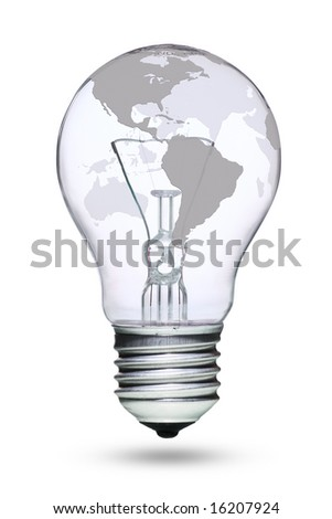 Tungsten light bulb with grey earth map - stock photo