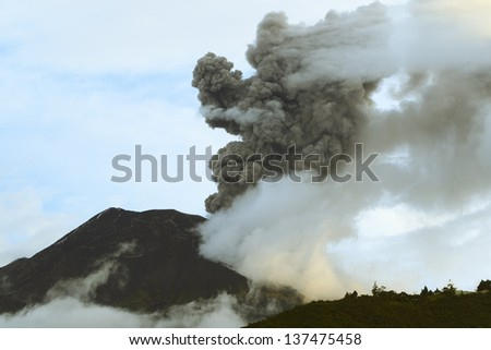 TUNGURAHUA VOLCANO ERUPTING ON 5TH OF MAY 2013 ECUADOR, SOUTH AMERICA