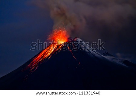 Tungurahua Volcano eruption and blue skies - stock photo