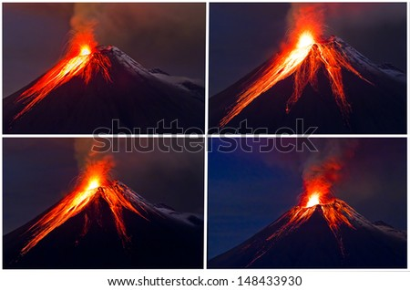 Tungurahua Volcano eruption collage - stock photo