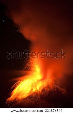 Tungurahua Volcano Eruption 28 11 2010 Ecuador South America 2Am Local Time - stock photo