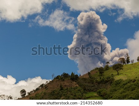 Tungurahua volcano explosion on august 2014, Ecuador, south america - stock photo