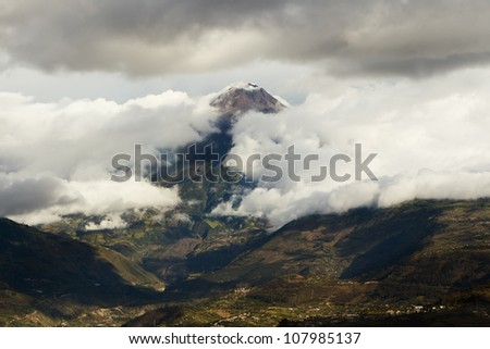 TUNGURAHUA VOLCANO IN ECUADOR CLOUDS BEAUTIFULLY OPENS UP RIGHT ON THE MAIN LAVA RIVER
