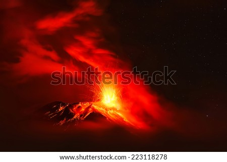 Tungurahua volcano night explosion  - stock photo