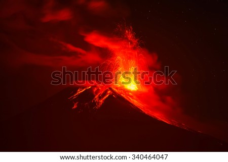 Tungurahua Volcano Night Explosion, Ecuador, South America