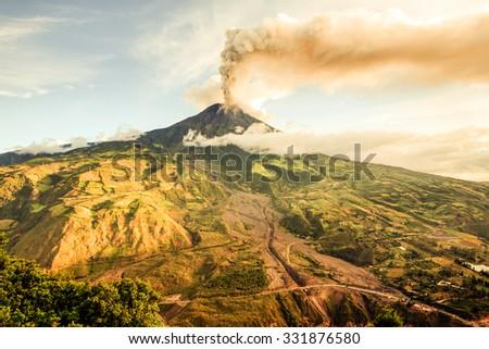 Tungurahua Volcano Smoking 29 11 2010 Ecuador South America 4Pm Local Time  - stock photo