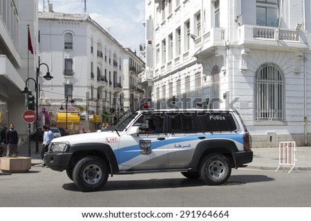 TUNIS, TUNISIA - MAY 24 2015. Police car of Tunis Police Station. Tunis, Tunisia. - stock photo
