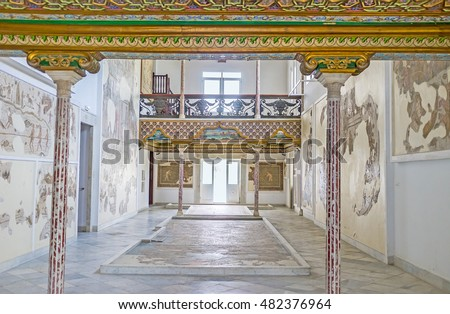 TUNIS, TUNISIA - SEPTEMBER 2, 2015: The Althiburos Room of Bardo National Museum with the slender stone pillars and ancient mosaic on the walls and floor, on September 2 in Tunis.