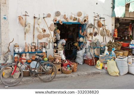 TUNISIA, AFRICA - August 02, 2012: View of street in Hammamet, Tinusia - stock photo