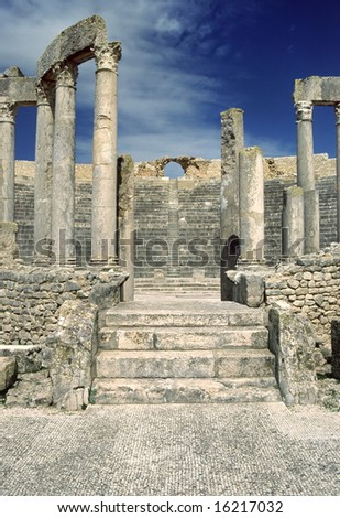 Tunisia. Ancient Dougga. Entrance to theatre (was built in 188 AD) - stock photo